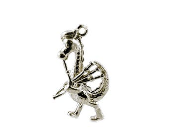 Sterling Silver Scottish Nessie & Bagpipe Charm For Bracelets