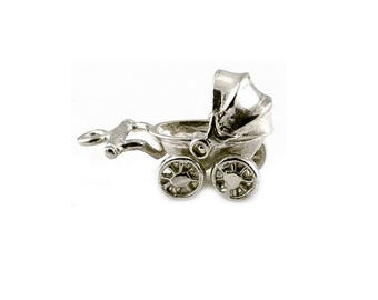 Sterling Silver Movable Pram Charm For Bracelets