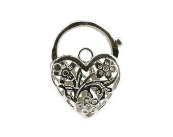 Sterling Silver Large Heart Padlock For Bracelets