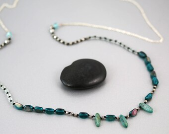 Long Blue Necklace - Kyanite and Glass - Blue Necklace - Sterling Silver