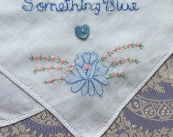 "Vintage Hand Embroidered ""Something Blue"" Bridal Handkerchief"