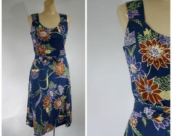 Sale 1970's Hawaii Floral Dress / Vintage Summer Sun Dress / Andrade Dress / 70s Festival Dress / Hawaiian Vacation Dress / Vintage Sundress