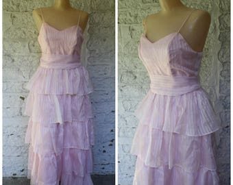 Pink Prom Dress / 1970s Maxi Dress / Vintage Maxi Dress / Spaghetti Strap Maxi / Ruffled Pink Prom Dress / Vintage 1970s Prom Dress S