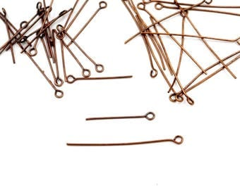50 Antique Copper Eye Pins - 25mm Or 40mm - 15-9