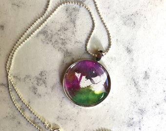 Watercolor pendant necklace, purple green abstract painting
