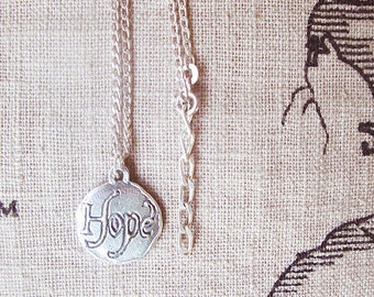 Hope necklaces, hope bird coin divorce pendant necklace, inspirational hope with bird silver coin jewelry, meaningful cancer survivor gift