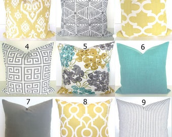 Turquoise PILLOWS Teal Decorative Pillow Covers Gray Pillows Gold Yellow Throw Pillow Covers 16 18 20x20 Sizes Mint Grey Floral Home Decor