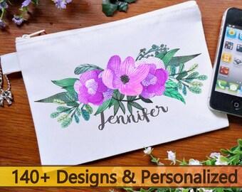 140+ designs makeup bag , bridesmaid gift,cute bag,summer cosmetic bag, summer,  purple cosmetic bag, flower zipper bag, floral makeup green