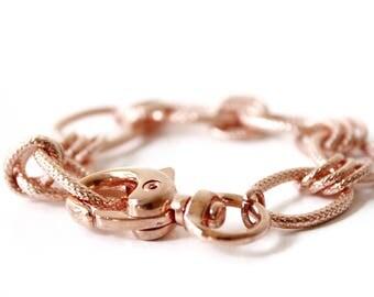 Rose Gold Bracelet, Rose gold chain bracelet, Boho Bracelet, Boho, Statement jewelry, Stackable bracelet, Chunky bracelet, Bridesmaid Gift