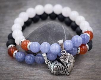 Half heart angel wing bracelet Couple bracelet His and her bracelet Relationship bracelet Anniversary gift for Love, Joy, Harmony, Good luck