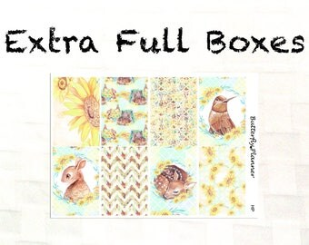 Extra Full Box Stickers for the Erin Condren & Happy Planner, Sunflower, Fall, Auntumn Stickers, Decorative Boxes