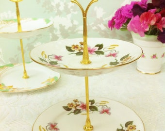 Pink and White Flower  2 Tier Mini Cake Stand