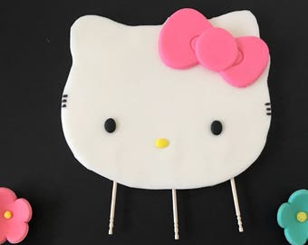 Hello Cat Kiity inspired Cake topper- stands on top of cake