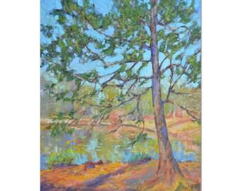 "Impressionist tree oil painting | Original landscape painting| New England | Fall scene| Autumn painting|  24"" X 20"""