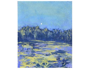 Abstract blue modern landscape painting, Moody landscape, Winter moon, snow, grey blues, Original acrylic, Minimalist