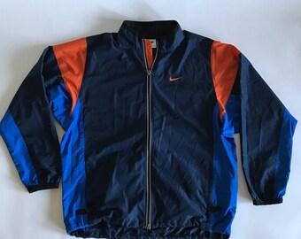 Vintage NIKE Windbreaker Mens Large Black Orange Blue Packable Pocket Zip Up Retro 90's White Tag