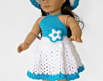 Crochet Pattern for Doll Halter Dress, Hat and Sandals, PDF 17-310