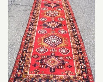 SUMMER CLEARANCE 1970s Hand-Knotted Ardabil Persian Rug Runner (3297)