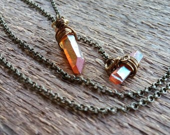 Raw Crystal Necklace, Raw Stone Necklace, Lariat Necklace, Y-Necklace, Quartz Necklace, Quartz Crystal, Boho Necklace, Bohemian Jewelry
