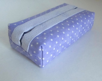 Tissue holder Purple and White Dots, Pocket tissue holder, Fabric tissue holder, Tissue holder