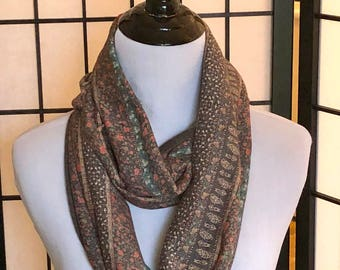 Brown Muted Patterned Jersey Infinity Scarf