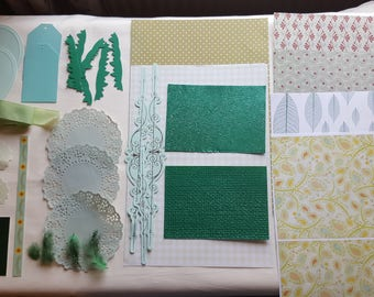 Green Collage Pack G3 ephemera die cuts paper Inspiration pack for junk journals scrapbook cardmaking feathers flowers