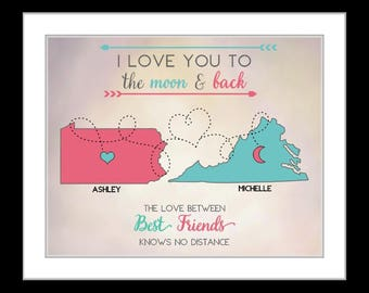 Long Distance Personalized Map Gift For Sister Bestfriend Cousin Bff Christmas Present Gifts Goodbye Gift Custom Birthday Gift Best Friend