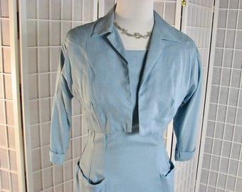 1950s Blue Linen Dress with Sassy Pleated Hemline!  Matching Bolero Jacket.....size  Small