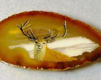Red Deer Stag Agate Pendant
