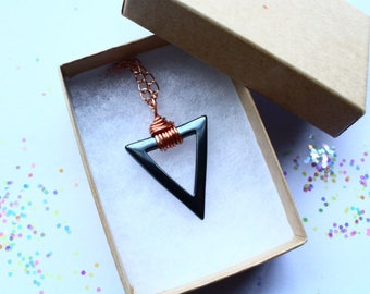 Hematite Triangle Necklace Copper Wire Wrapped Pendant