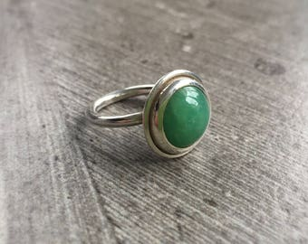 Silver and Amazonite Statement Ring. Stacking Ring