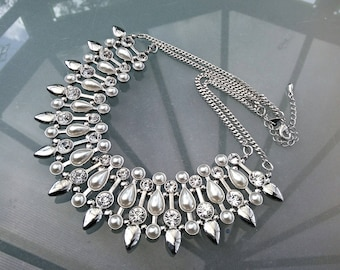 Silver crystal pearls collar Art deco vintage necklace ajustable chain fastener 22/26 inches wedding prom party