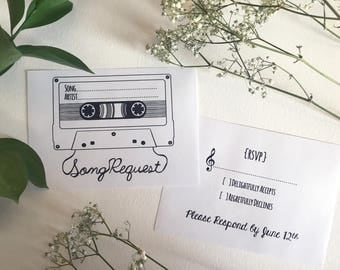 Song Request & RSVP Card- Mixtape Style 1- Digital
