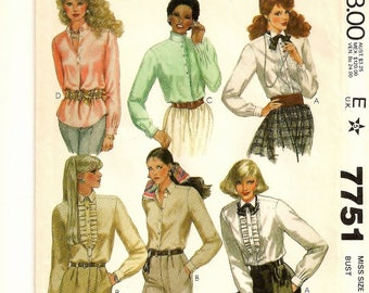 A Long Sleeve, Shirttail Hemline, Pullover or Buttoned Shirt w/ Collar & Jabot Variations Pattern for Women: Uncut - Size 8 • McCall's 7751