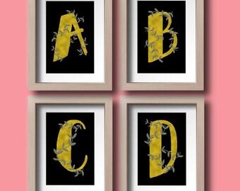 Monogram Letters A-Z Alphabet