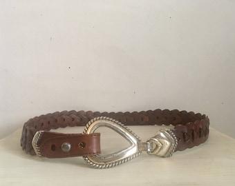 90s braided brown leather belt, thick silver hardware belt, medium large - vintage -