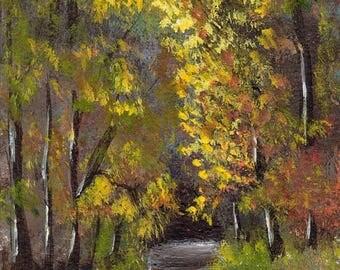 SALE Autumn Path ACEO Landscape Fall Trees Original Acrylic ACEO landscape painting by Australian Artist Janet M Graham