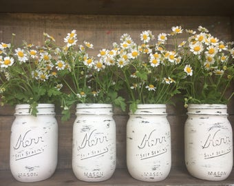 Wedding Centerpieces. Rustic Wedding Decor. Chalk Painted Mason Jars. Annie Sloan White Chalk Paint. Summer Wedding Decor.