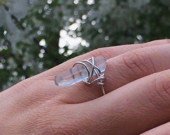 Sterling Silver Crystal Ring, Blue Quartz Ring, Wire Wrapped Ring, Size 7