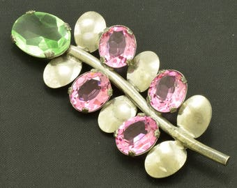 Vintage Sterling Brooch Pin Pink & Green Glass Stones ~ Lot 1673