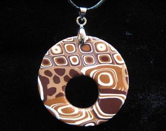 Eyewear gradient Brown polymer clay pendant painted