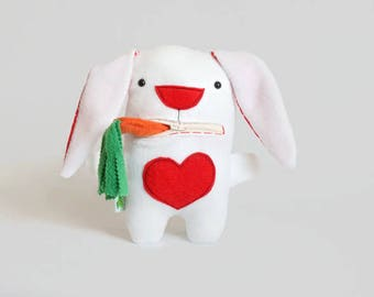 Cute Stuffed Bunny, Red and White Bunny Toy, Minky Bunny Eats Carrot, Stuffed Animals for Babies, Rabbit Plush Doll, Boy's Stuffed Toy Gift