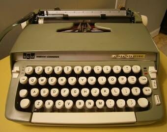 Vintage Typewriter / Smith Corona / Super Sterling / 1960's Green Typewriter / Typewriter With Case / Portable Manual Typewriter