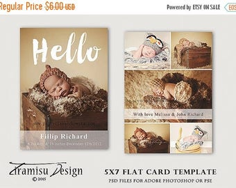 ON SALE Birth Announcement Template , Photography 5x7in Template for Adobe Photoshop, sku 27-5