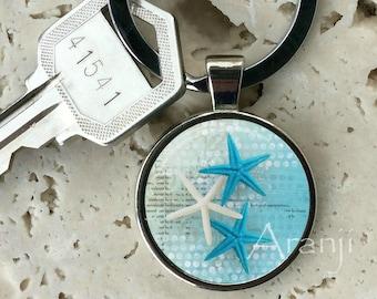 Blue starfish keychain, key chain, key ring, key fob, starfish keychain, starfish key chain, starfish, gift for man, beach keychain #AN210K
