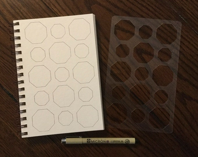"""Octagon Background Stencil (5"""" x 8"""") ~ for All Journals, Postcards, Tiles, Greeting Cards, Drawing"""