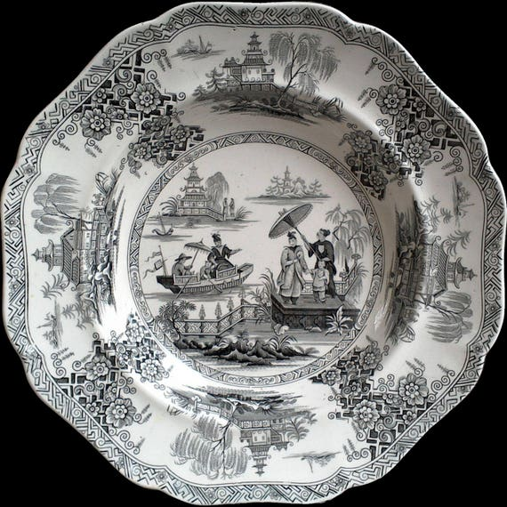Antique Black and White Chinoiserie Napier Soup or Stew Bowl, Black Transferware, Serving, Cabinet Bowl