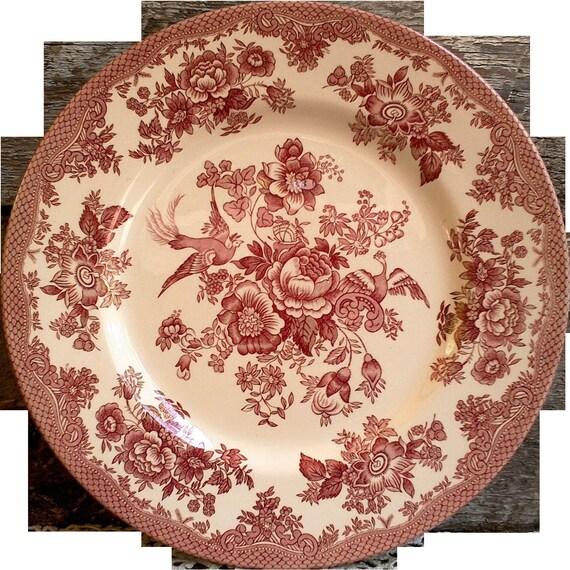 ROYAL STAFFORD Pink Transferware Pheasant Dinner Plate ~  Roses, Birds, Pheasants, England, Serving,