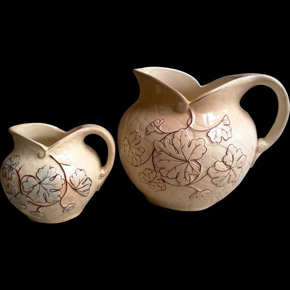 Avalon Faience Majolica SET of 2 Pitchers ~ Chesapeake Pottery ~ David Haynes & Co Baltimore MA 1882-1890