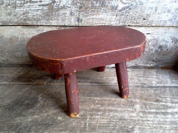 Wooden Primitive Stool Antique Folk Art gift for her gift for women housewarming gift christmas gift gift idea red stool childs stool decor